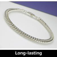 Pure Titanium & Germanium Curb Chain Bracelet (Rhodium plated) 18cm-21cm (7.0
