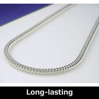 Pure Titanium & Germanium Curb Chain Necklace (Rhodium plated) Long 55cm/60cm (21.6