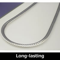 Pure Titanium & Germanium Herringbone Necklace (Rhodium plated) 50cm (19.6