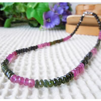 Mixed Color Tourmaline Necklace (Button Beads) 43/50/55/60cm (16.9/19.6/21.6/23.6