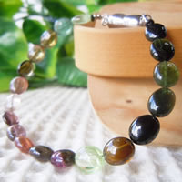 Mixed Color Tourmaline Bracelet (Oval Beads) 16/17/18/19/20/21cm (6.2/6.6/7/7.4/7.8/8.2