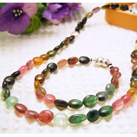 Mixed Color Tourmaline Necklace & Bracelet (Oval Beads) Combo