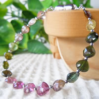 Mixed Color Tourmaline Bracelet (Heart Beads) 16/17/18/19/20/21cm (6.2/6.6/7/7.4/7.8/8.2