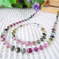 Mixed Color Tourmaline Necklace & Bracelet (Heart Beads) Combo