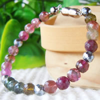 Mixed Color Tourmaline Bracelet (7mm Diameter Cut Beads) 18/19/20/21/22cm (7/7.4/7.8/8.2/8.6