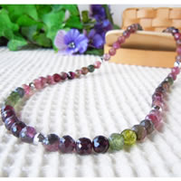 Mixed Color Tourmaline Necklace (7mm Diameter Cut Beads) 43/50/55/60cm (16.9/19.6/21.6/23.6